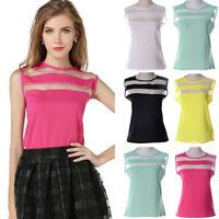 Summer Casual Blouse Women Vest Loose Chiffon Sleeveless Tank T-Shirt Top