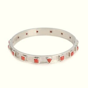 manufacturer pure Silver Natural Coral Certified Gemstone handmade women bangle