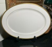 """Lenox Tuxedo 17"""" Oval Serving Platter Gold Trim Made in the USA - Excellent"""