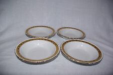 "Vintage Burleigh Ware Set of 4 x 6.5"" Dessert Fruit Bowls White with Gold Trim"