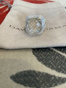 DAVID YURMAN ALBION White Topaz /DIAMOND RING 14x14mm  SPLIT SHANK