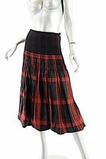 ISCHIKO Black/Red Cupro Blend Plaid Bubble Skirt w/Rib/Shirred Waistline - Sz M