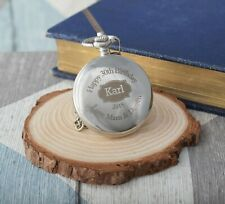 Engraved Birthday Silver Pocket Watch Gift Box 50th 60th 65th 70th