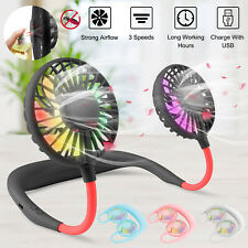 Portable Rechargeable Neck Fan LED Hands Free Necklace Fan Bendable Cooling Mini