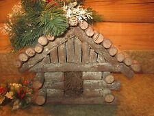 Vintage Handcrafted Log Cabin Christmas Decoration Apples & Greenery Unique!