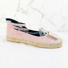 Roger Vivier Suede Buckle Espadrille Flats 37.5 US 7.5 Pink Leather Shoe Ballet