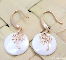 925 Silver Pink Rose Gold Hawaiian Palm Tree White Ceramic Circle Hook Earrings