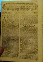 1786 GAZZETTA UNIVERSALE NOTIZIE CON NOTIZIE DAL MONDO E CURIOSITA'