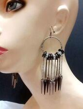 Silver Hematite Dangle Mesh Metal Chain Spike Charm Earrings Two Tone Statement