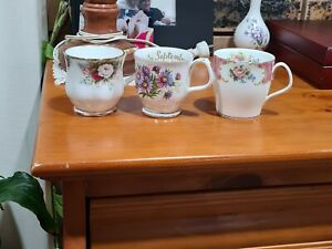 3x Royal Albert England Mugs.  Lady Carlyle, Celebration, September. See details