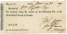 1829 - HORTICULTURAL SOCIETY OF LONDON. - signed receipt