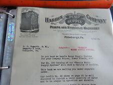 1912 Harris Company Pumps and Hydraulic Machinery Pittsburgh PA Letterhead