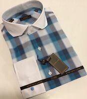Dress Shirt by Steven Land Spread Collar French Cuffs 16.5 36/37 DS 1525 Blue