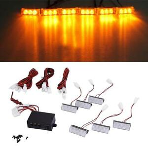 6pcs Car 12V 3W Amber LED Flashing Grill Lights Bar Warning Recovery Breakdown
