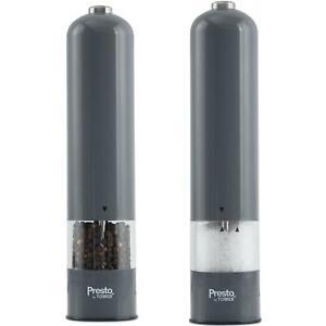 Tower Presto Salt & Pepper Mill/Grinder Set, Electric With Acrylic Window, Grey