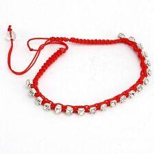 Fashion Crystal Rhinestone Beads Handmade Braided Red Cord Friendship Bracelet