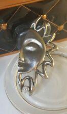 Modernist Designer Vintage Silber Brosche Halbe Sonne Gesicht mit einem Stein