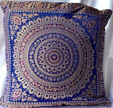 Blue Mandala Cushion Covers Antique Style Banarasi Indian 38cm