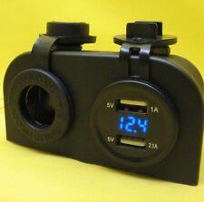 USB Dual Charger Outlet Cigarette Socket 12V Battery Meter Voltmeter Blue 24V BJ