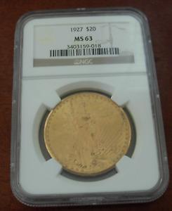 US 1927 Gold $20 Double Eagle NGC MS63 Saint - Gaudens