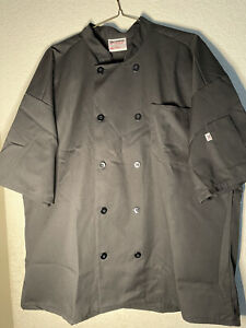 Chef Coat 2XL Black Uncommon Threads Cooking Restaurant Uniform Culinary Arts