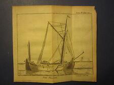 Original Old 1739 Antique SHIP Print - Small Ship - Le Spectacle de La Nature
