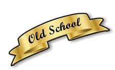 Gold Effect Scroll Ribbon OLD SCHOOL Retro Cafe racer Hotrod car Helmet Sticker
