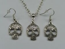 Sugar Candy Skull Necklace and Matching Earrings Set. Mexican Day of the Dead.