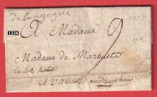 MARQUE MANUSCRIT DE LANGOGNE LOZERE 1773 VALENCE DROME LETTRE COVER