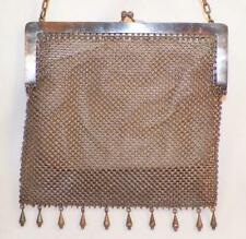 Art Deco Mesh Purse Silver Metal with Fringe C or G Silver Chainmail Vintage