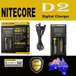 Nitecor D2 2 slot Smart Battery charger Lithium 17500 14500 10440 16340 RCR123