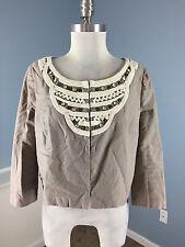 anthropologie IDRA M Brown Linen Blazer Jacket 3/4 sleeve Embroidered Beaded EUC