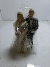 """Vintage Bride And Groom Wedding Cake Topper Art Deco Lefton Small 4"""" Perfect"""