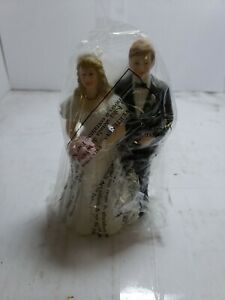 "Vintage Bride And Groom Wedding Cake Topper Art Deco Lefton ceramic 5"" Perfect"