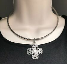 "Premier Designs Jewelry Kindred 16"" Necklace Silver Collar w/ Cross 2242"