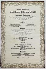 1960s Original Thanksgiving Pilgrim Menu Century Plaza Hotel Century City Ca.