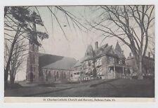 Bellows Falls Vermont c1910 Postcard St. Charles Catholic Church & Rectory