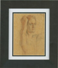 Early 20th Century Coloured Pencil - Male Nude, Arm Raised