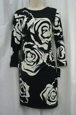 INC International Concepts Sz 6 Black White Print Jersey Career Cocktail Dress