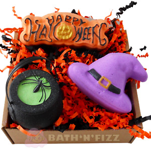 Halloween Bath Bombs Bath Bomb Vegan Gift Box Rhubarb & Rose, Lavender Scented