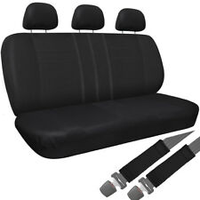 Car Seat Cover Black 8pc Set Bench for Auto Belt Pad/Detachable Head Rest