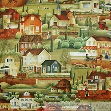 BonEful Fabric FQ Cotton Quilt Green Brown Scenic Town House Church Old World US