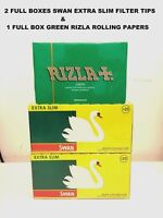 5000 RIZLA GREEN ROLLING PAPERS & 4800 SWAN EXTRA SLIM FILTER TIPS ORIGINAL NEW