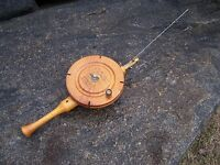 Vintage Wooden Ice Fishing Rod & Reel Handmade Folk Art Cabin Decor Muskegon MI
