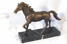 "RUNNING HORSE ON MARBLE BASE Bronze Finish 9"" Long BEAUTIFUL, HEAVY FIGURINE New"
