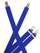 Hosenträger 4 Clip  X Form mit Metallkreuz in 14 Farben 110cm-130cm wählbar