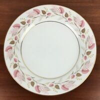 "4 Noritake China Rosanne Porcelain White Pink Gold Dinner Plate10"" Made in Japan"