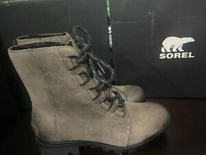 Sorel Women's Phoenix Short Lace-Up Waterproof Leather Ankle Boots Quarry SIZE 7