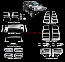 06-09 HUMMER H2 CHROME COVER TRIM 36PCS COMBO DOOR HANDLE MIRROR HOOD DECK VENT