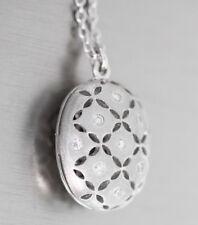 Silberkette 925 massiv mit Anhänger oval mit Zirkonias Halskette Collier Damen